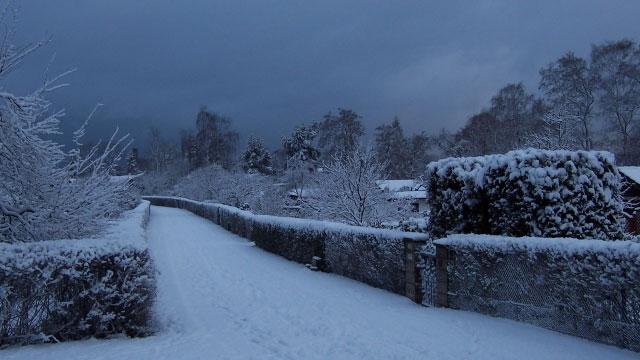 Hauptweg im Winter